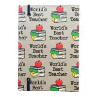 """Notizbuch """"Best Teacher/Grey"""" A5 stoffbezogen Lehrer Geschenkidee Geschenkartikel Geschenk Dankeschön Abschied Bild 3"""