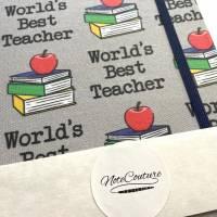 """Notizbuch """"Best Teacher/Grey"""" A5 stoffbezogen Lehrer Geschenkidee Geschenkartikel Geschenk Dankeschön Abschied Bild 6"""