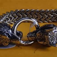 Wolfskopf Armband, 22,5 cm lang, Edelstahl (Edel51)  Bild 1