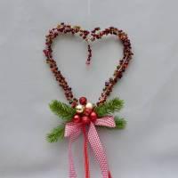 Perlen-Herz aus Draht zur Fenster-Wand-Deko, Türkranz, Geschenk für Weihnachten Bild 1