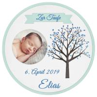 Tortenaufleger TAUFE Junge Blau LEBENSBAUM Wunschtext Foto - personalisiert 20 cm Durchmesser Bild 1