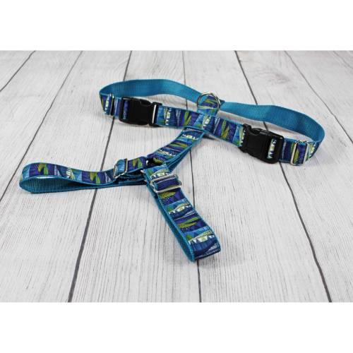 Hundegeschirr mit Muster, geometrisch, nordisch, Indianer, modern, blau, Hund, Gurtband, Hunde, Welpe, Brustgeschirr