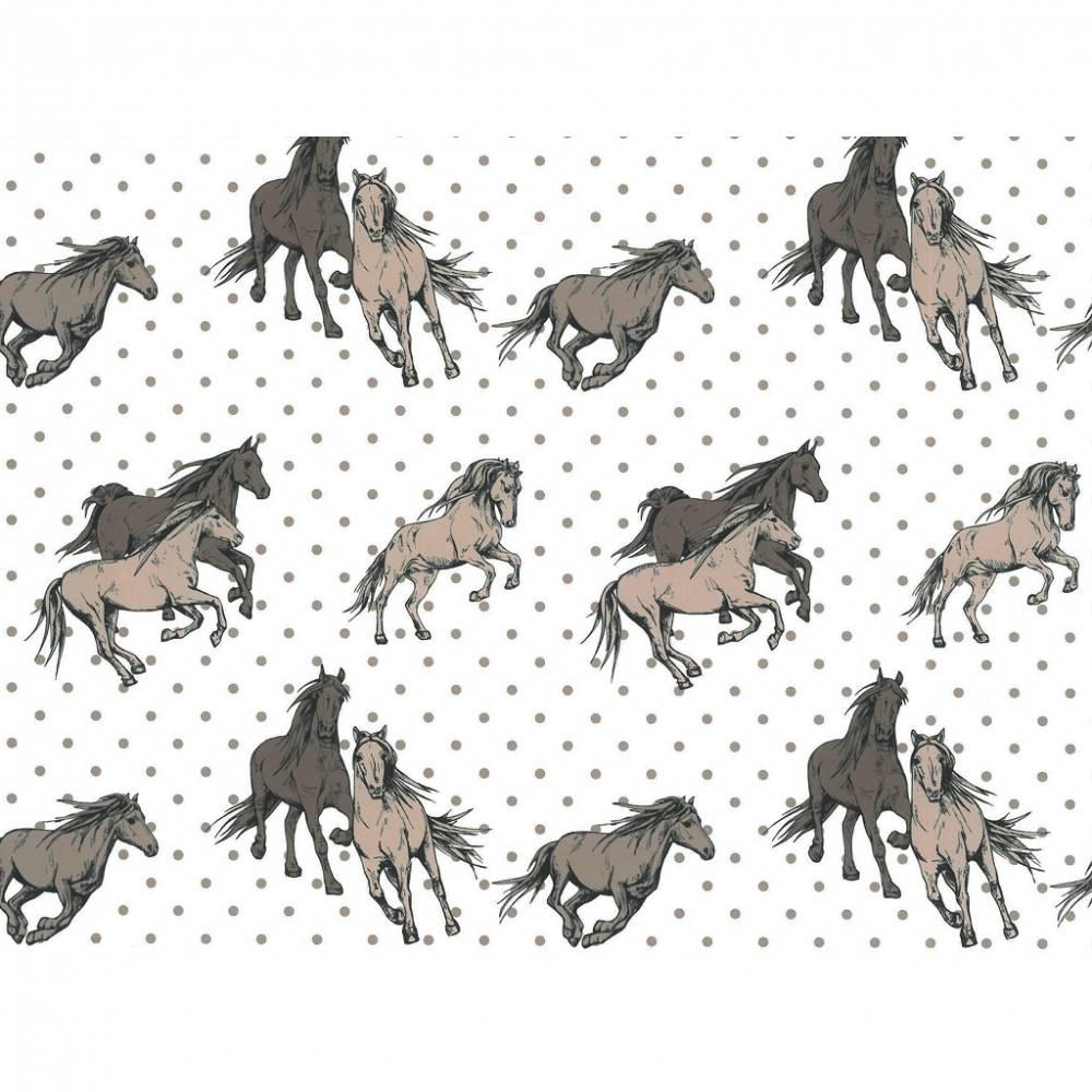 Baumwolle Meterware Pferde beige Punkte auf creme Bild 1