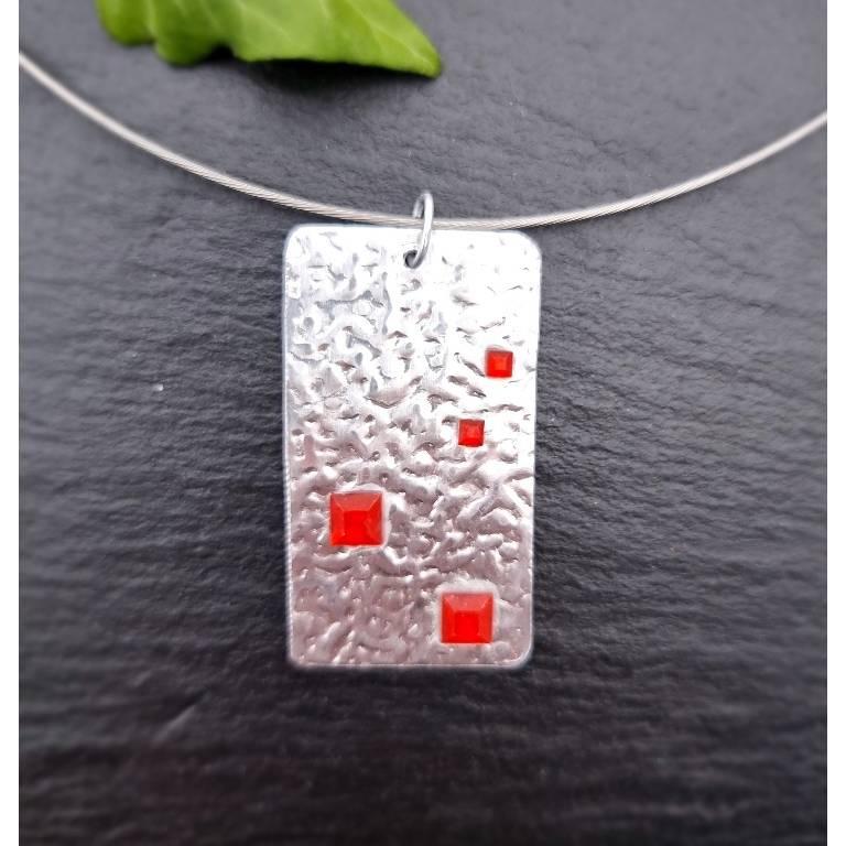 2-teiliges Schmuck-Set Silber mit roten Steinchen Bild 1