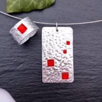 2-teiliges Schmuck-Set Silber mit roten Steinchen Bild 2