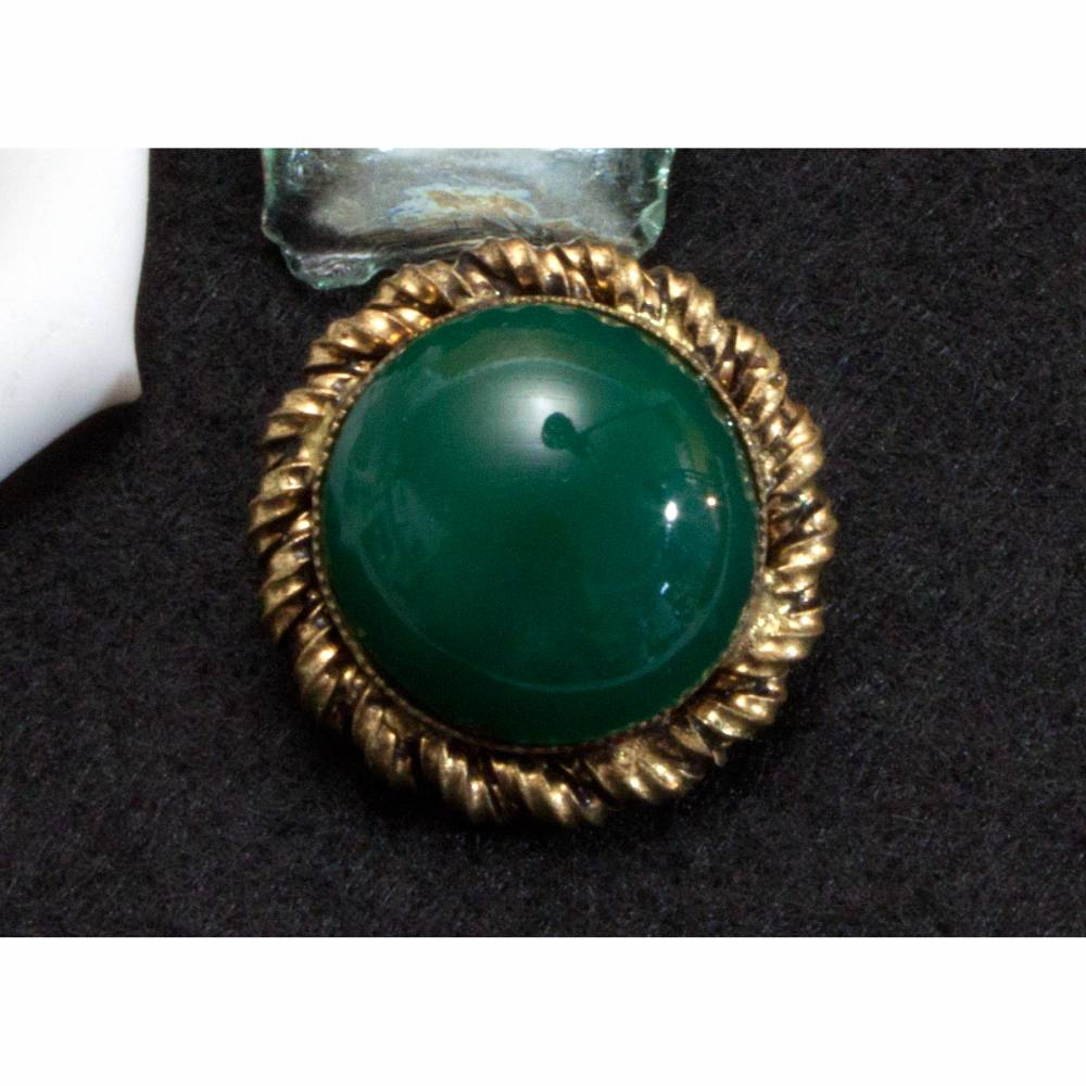 Kleine Vintage Brosche, grün, goldfarben, 40er, 50er Jahre, Glascabochon, Trödel Dings da Bild 1
