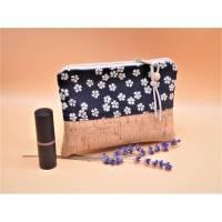 Süße Tasche mit Kork Baumwolle - Leinen dunkelblau Blümchen beige Bild 1