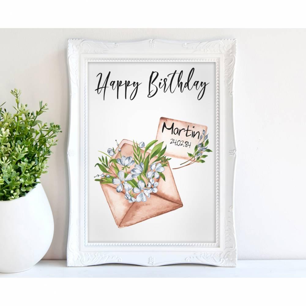 HAPPY BIRTHDAY - A4 / A3 - Kunstdruck - Brief Bild 1