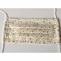 Weihnachts-Behelfs-Mundschutz Maske aus Baumwolle - Beige mit Sternen,  mit Naselbügel (79) Bild 1