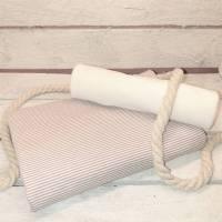 Stoffpaket Nähpaket Maritim Baumwolljersey 50 cm und Bündchen 25 cm Ringeljersey 1mm Altrosa Weiß Jersey Baumwolle Öko Bild 1
