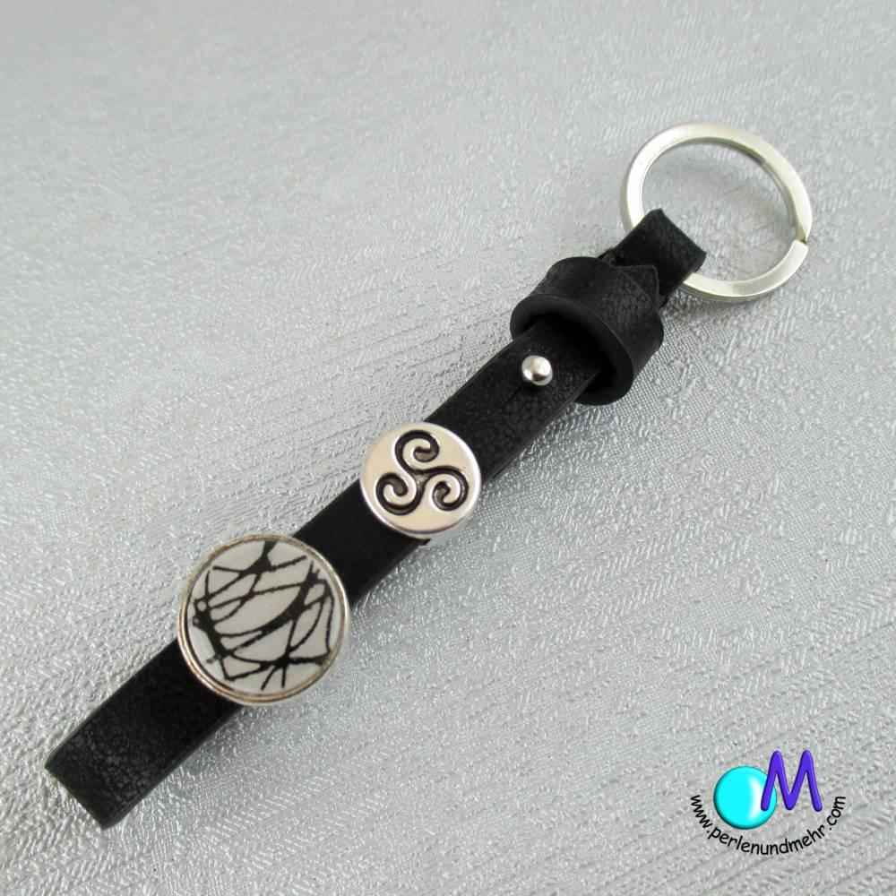 Schiebeperlen  Schlüsselanhänger Handarbeit schwarz weiß  Schiebe Perlen  ART 4300 Bild 1