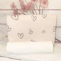 Stoffpaket Nähpaket Herzberührt aus Bio Baumwolljersey 50 cm und Bündchen 25 cm Grau auf Rosa Jersey Baumwolle Öko 100 Bild 1