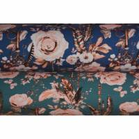 Jersey mit Rosen Federn Schlüssel 50 x 150 cm Nähen Stoff grau dunkelblau Bild 1