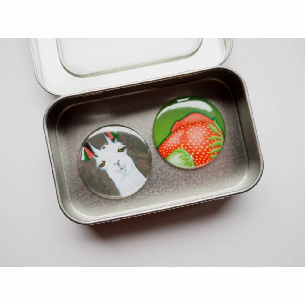 2 Magnete in der Box, Kühlschrankmagnet, Küche, Rezepthalter, witzige Magnete, Button Magnete, runde Magnete, Geschenk Büro,kleines Geschenk Bild 1