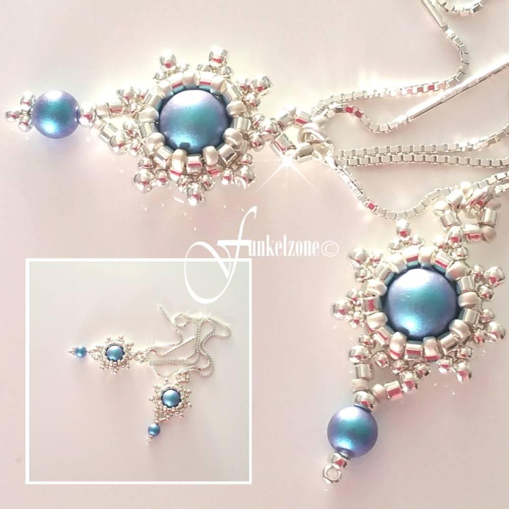DIANA Kettenohrringe | Durchfädler | Blüten Design | light blue matt | Peyotetechnik | 925 Silber | Hochzeit Bild 1