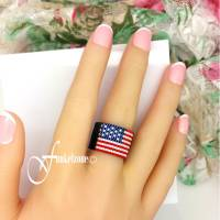 Peyotering | Amerika | Höhe 15 mm | Design A | USA | America | Myuki Delicas 15/0 | Bandring | schwarzer Ring Bild 1