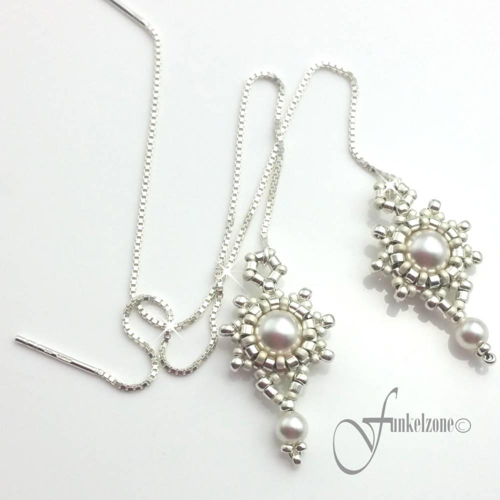 DIANA Kettenohrringe | Durchfädler | Blüten Design | 925 Silber | Sterlingsilber | Hochzeit | Brautschmuck Bild 1