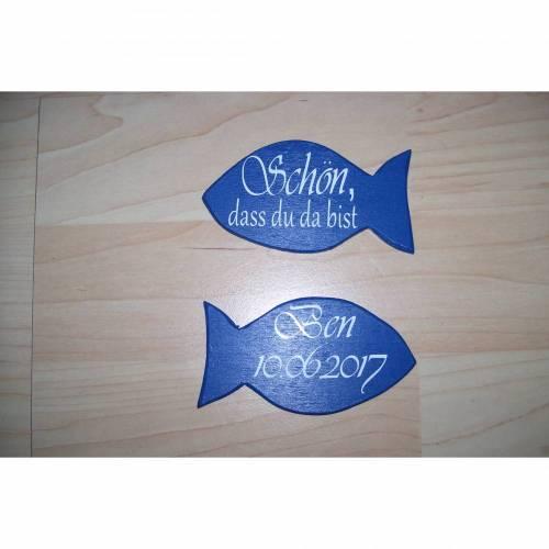 Tisckarte, Gästegeschenk Fisch aus Holz
