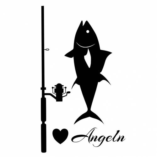 Hochwertiger Autoaufkleber  Angel mit Fisch in 11 Größen ab 8 cm B x 15 cm H mit Klebeanleitung