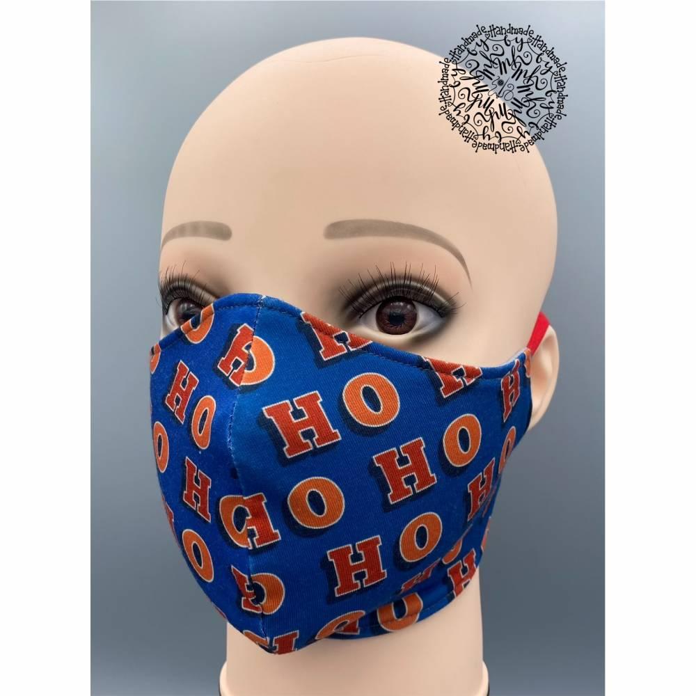 Mund&Nasenmaske / albstoffe / ShieldPro / Trevira-Bioactiv / Weihnachten / Ho Ho Ho/ Größe M Bild 1