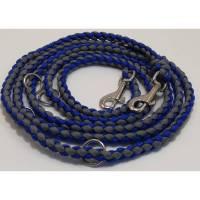 handgefertigte Hundeleine Jibby Blau-Grau für Welpen und kleine Hunde in Wunschfarben Bild 1