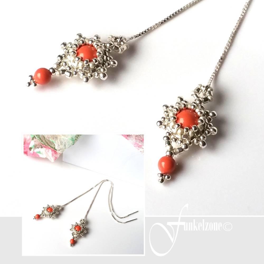 DIANA Kettenohrringe | Durchfädler | Blüten Design | coralle | Peyotetechnik | 925 Silber | Hochzeit Bild 1