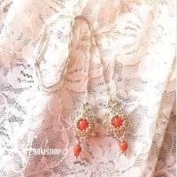 DIANA Kettenohrringe | Durchfädler | Blüten Design | coralle | Peyotetechnik | 925 Silber | Hochzeit Bild 2