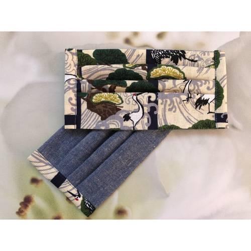 Gesichtsmaske Kranich Welle Blau, waschbar, wiederverwendbar, aus japanischen Baumwollstoffen mit Bändchen und Gummi