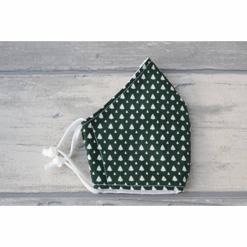 Behelfsmaske/Mund-Nasen-Maske waschbar 2-lagig Damen Tannenbaum grün weiß  Bild 1