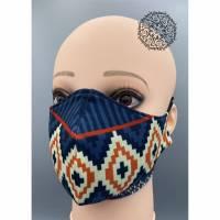 Mund&Nasenmaske / albstoffe / ShieldPro / Trevira-Bioactiv / Weihnachten / Muster Blau / Größe M Bild 1