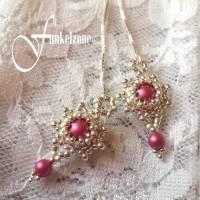 DIANA Kettenohrringe | Durchfädler | Blüten Design | mulberry pink | Peyotetechnik | 925 Silber | Hochzeit Bild 2