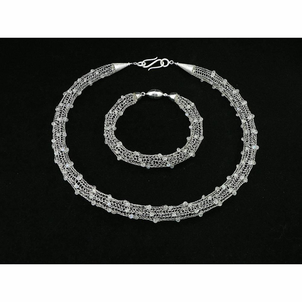 gestricktes SCHMUCK-SET Sterlingsilber / Mondstein - Kette, Armband & Ohrringe - optional mit passendem Ring Bild 1