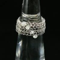 gestricktes SCHMUCK-SET Sterlingsilber / Mondstein - Kette, Armband & Ohrringe - optional mit passendem Ring Bild 3