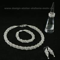 gestricktes SCHMUCK-SET Sterlingsilber / Mondstein - Kette, Armband & Ohrringe - optional mit passendem Ring Bild 4