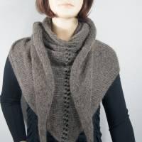 Dreieckstuch, Schultertuch, Halstuch, Schal, gestrickt, taupe grau Bild 1