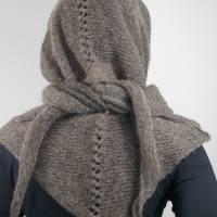 Dreieckstuch, Schultertuch, Halstuch, Schal, gestrickt, taupe grau Bild 5