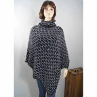 Strickponcho mit Loop aus Wolle/Mohair schwarz grau Bild 1
