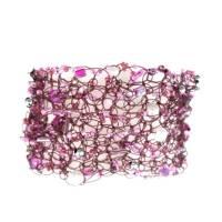Kunstperlen Armband rosa pink schwarz und transparent gehäkelte Handarbeit Bild 1