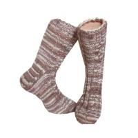 Handgestrickte Socken Gr 39/40 gezopft in hellbeige und Brauntönen unisex