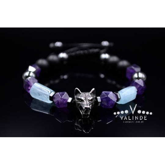 Herren Armband aus Edelsteinen Aquamarin Amethyst Onyx Hämatit mit Wolfskopf, Makramee Armband, Geschenk für Mann, 10  Bild 1