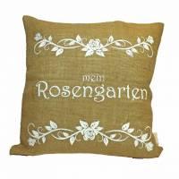 Jute-Kissen  Rosengarten  Dekokissen mit Kokosknöpfen und Hotelverschluß Rupfenkissen   Bild 1