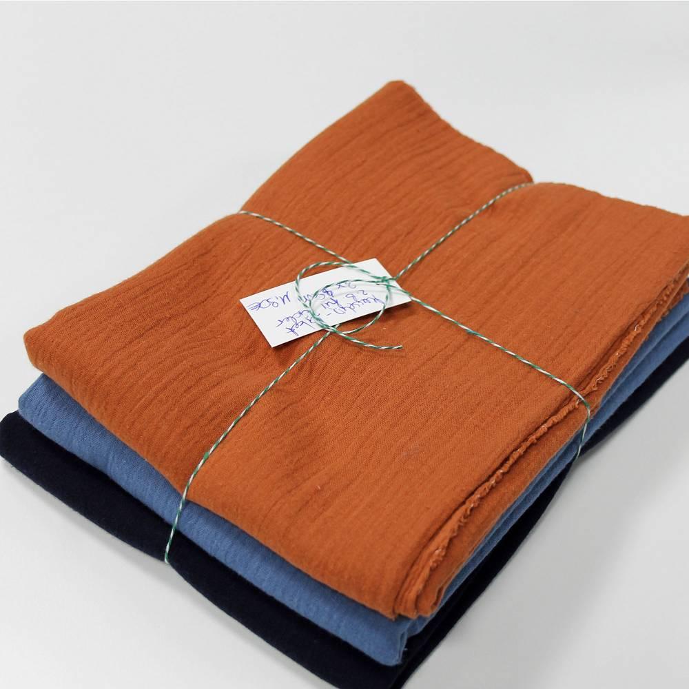 Musselin Set Nr 1 - marine - jeans - rost Bild 1