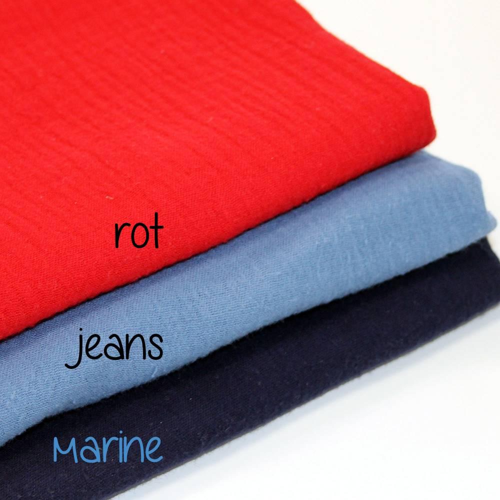 Musselin / Double Gauze uni jeans blau einfarbig Bild 1