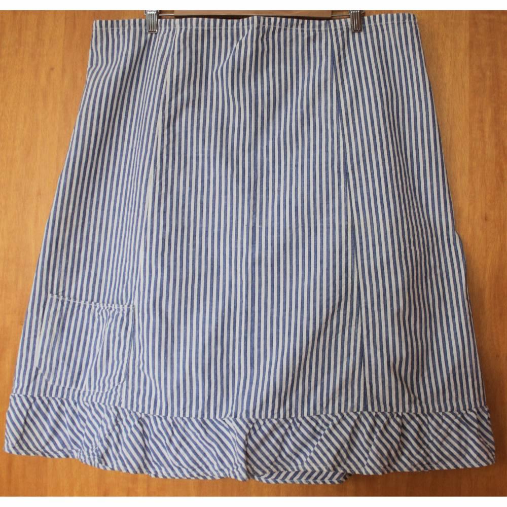 gestreifter Vintage Leinenrock mit Tasche und Rüschen Bild 1