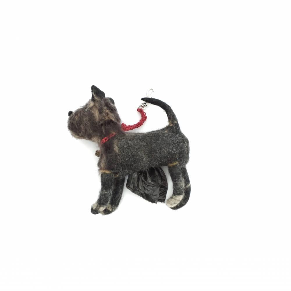 Kotbeutelspender Schnauzer braun aus Filz, Gassitäschchen, Etui für Kotbeutel, Hunde Accessoires, Tasche für Kotbeutel Bild 1