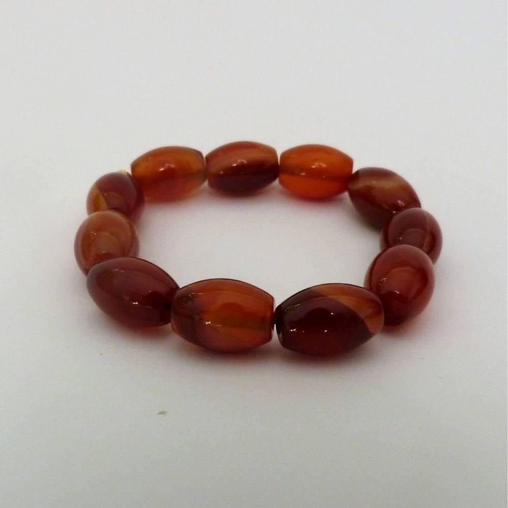 Tolles Edelsteinarmband Karneol, hell, Länge 20 cm, dehnbar, Schmuck aus Edelsteinen, für Männer und Frauen Bild 1