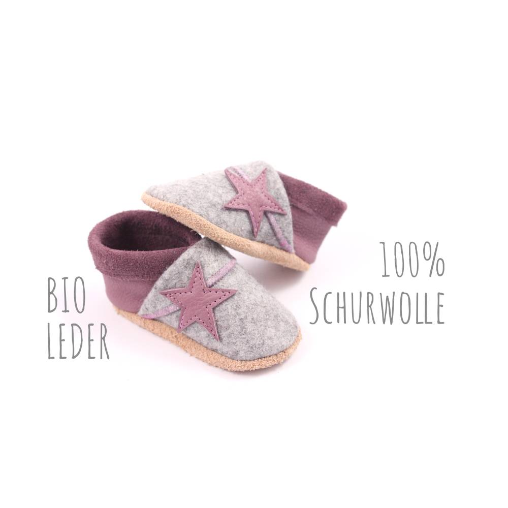 Bio Krabbelschuhe minifußBio864, Krabbelpuschen, Lederpuschen, Babyschuhe aus pflanzlich gegerbtem Leder und Filz Bild 1