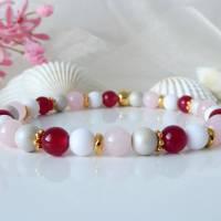 Armband aus Jade- und Acrylperlen in weinrot, rosa, weiß und beige, Schmuck, Anhänger, handmade Bild 1