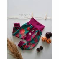 Button-Pants 92 Jersey Rote Beete auf Türkis Bündchen Beere/Pink zwei Knöpfe Bild 1