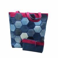 """Taschen- Set """"Carola"""" mit einen aufwendigen Patchwork * Einkaufstasche * Shopper Bild 3"""